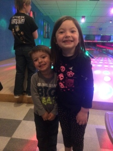 Cousins! My daughter Maddie and nephew Dexter waiting their turn to bowl!